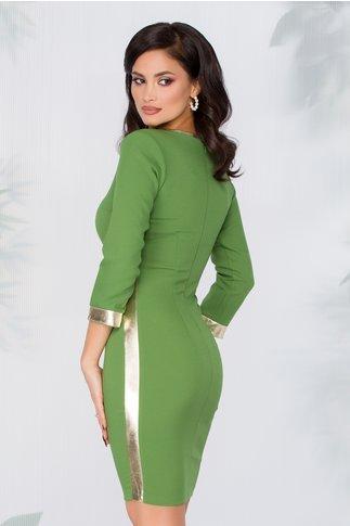 Rochie Alegra verde cu finisaje aurii