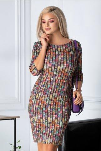 Rochie Alesia cu imprimeu colorat si buzunare