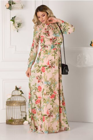 Rochie Alessandra vaporoasa roz-somon cu imprimeuri florale