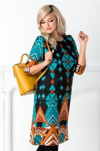 Rochie Alexa bleumarin cu imprimeu geometric turcoaz si caramiziu