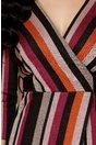 Rochie Alexa cu dungi multicolore si lurex auriu