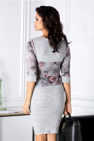 Rochie Alexa gri cu imprimeuri roz-negru