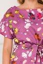 Rochie Alexa mov cu imprimeuri florale