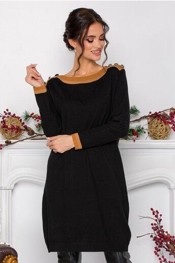 Rochie Alexa neagra din tricot cu nasturi decorativi la umeri