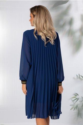 Rochie Alexandra albastra din voal plisat