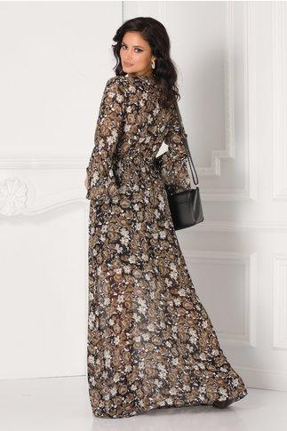 Rochie Alexandra lunga vaporoasa cu imprimeuri florale maro