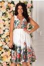 Rochie Alexia alba cu imprimeu floral