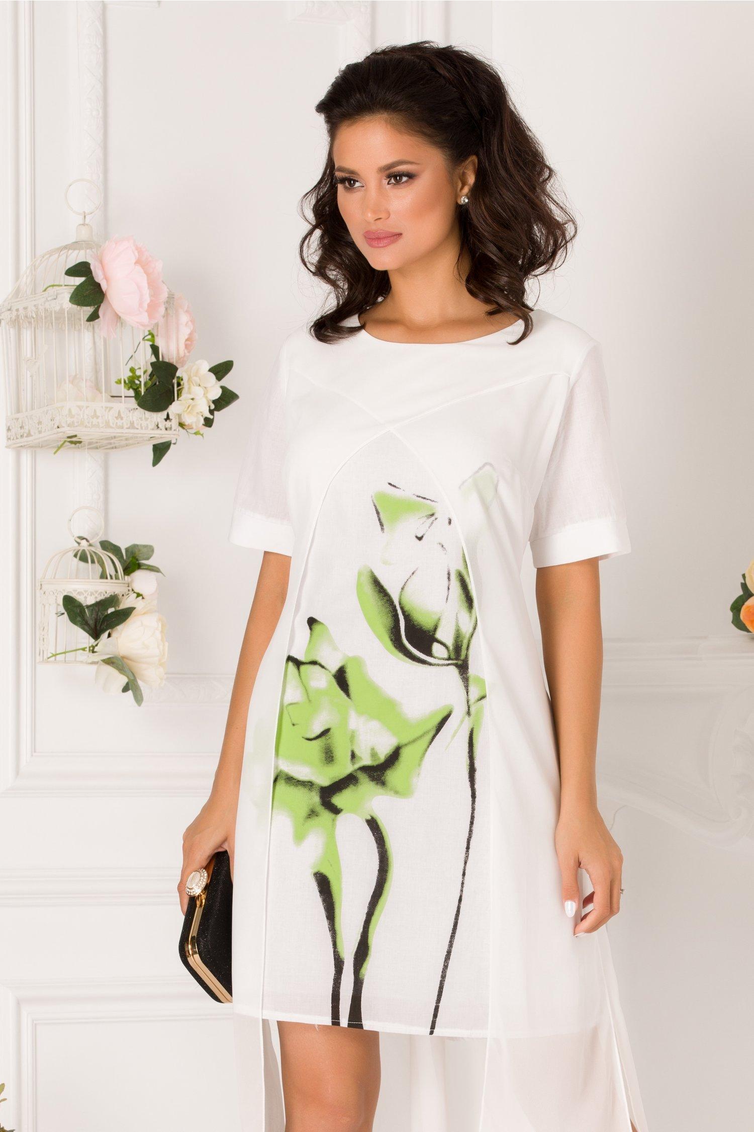 Rochie Alexia alba cu imprimeu floral verde si voal