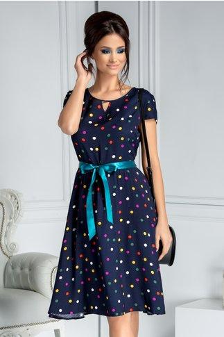 Rochie Alexia bleumarin clos cu buline colorate