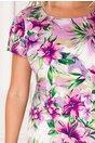 Rochie Alexia lila cu imprimeu floral si volan la baza
