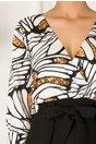 Rochie Alexia neagra cu bust alb imprimat