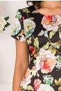 Rochie Alexia neagra cu imprimeu floral si volan la baza