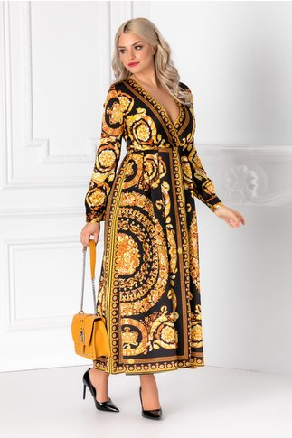 Rochie Alexia neagra cu imprimeu galben