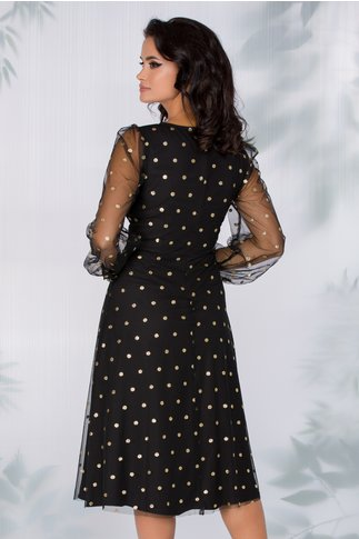 Rochie Alice neagra din tull cu buline glitter