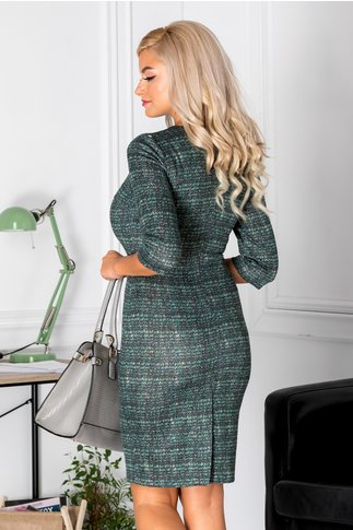 Rochie Alicya  conica verde cu imprimeuri negre