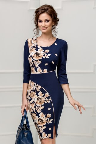 Rochie Alida bleumarin cu trandafiri maro