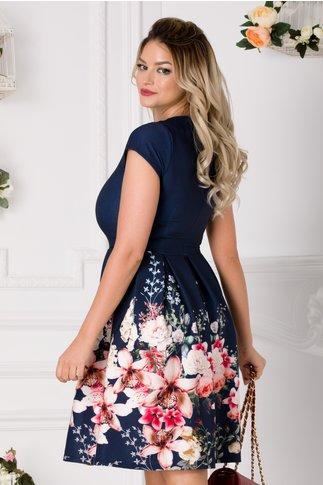 Rochie Alina bleumarin cu imprimeu floral pastelat