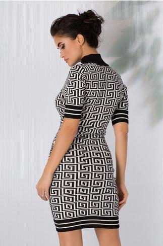 Rochie Alina cu imprimeu geometric alb-negru
