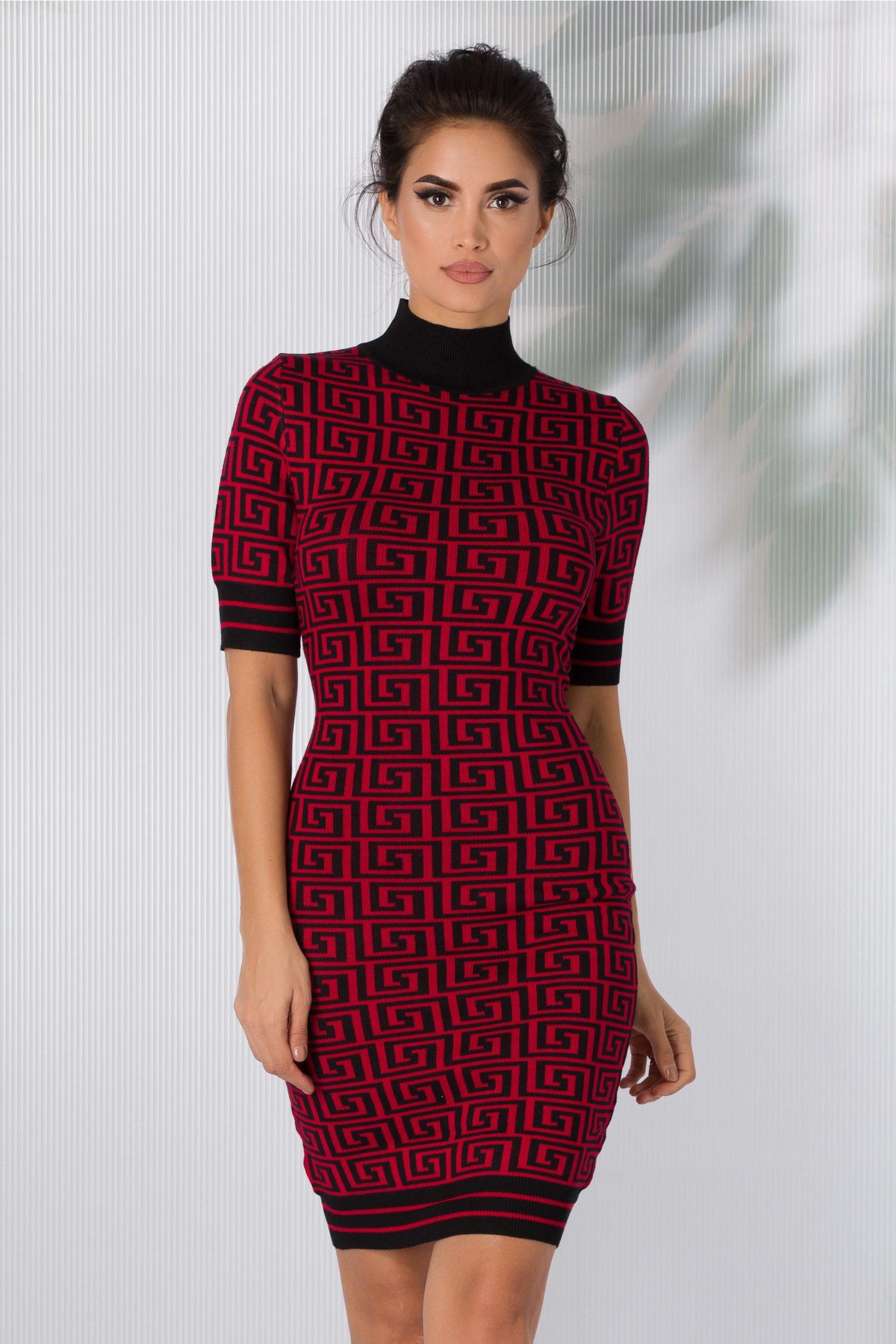Rochie Alina cu imprimeu geometric rosu-negru