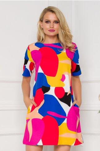 Rochie Alina cu imprimeuri multicolore