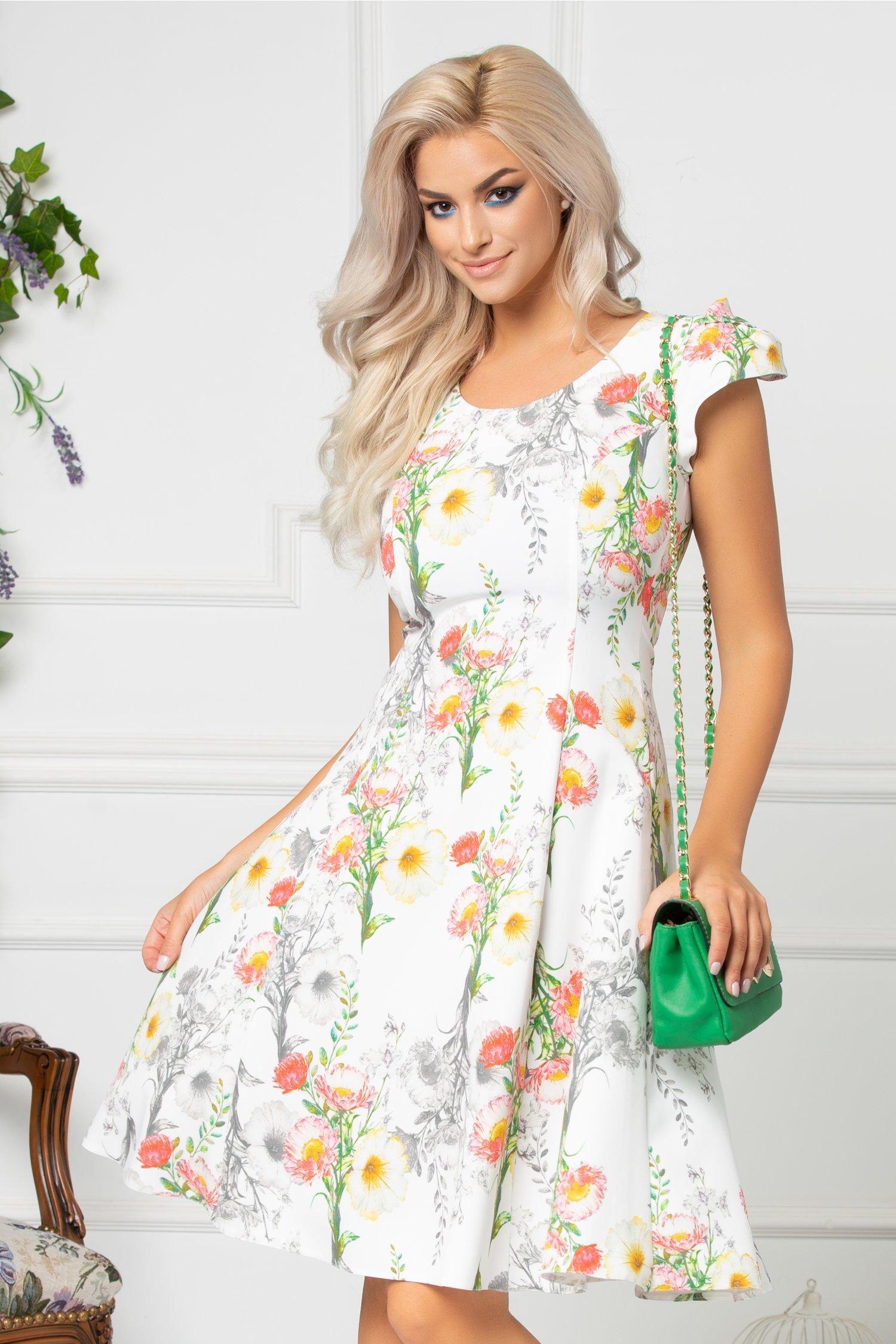 Rochie Aliona alba de zi cu imprimeu floral colorat