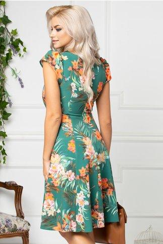 Rochie Aliona de vara verde cu imprimeu orange