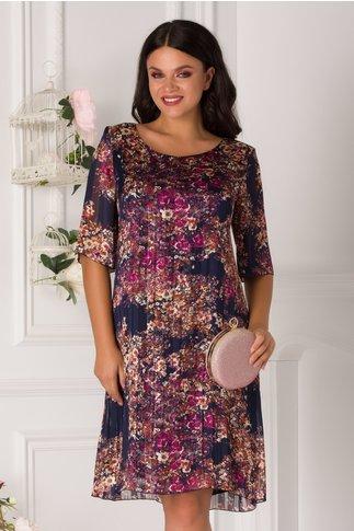 Rochie Alis bleumarin cu imprimeu floral si insertii lurex