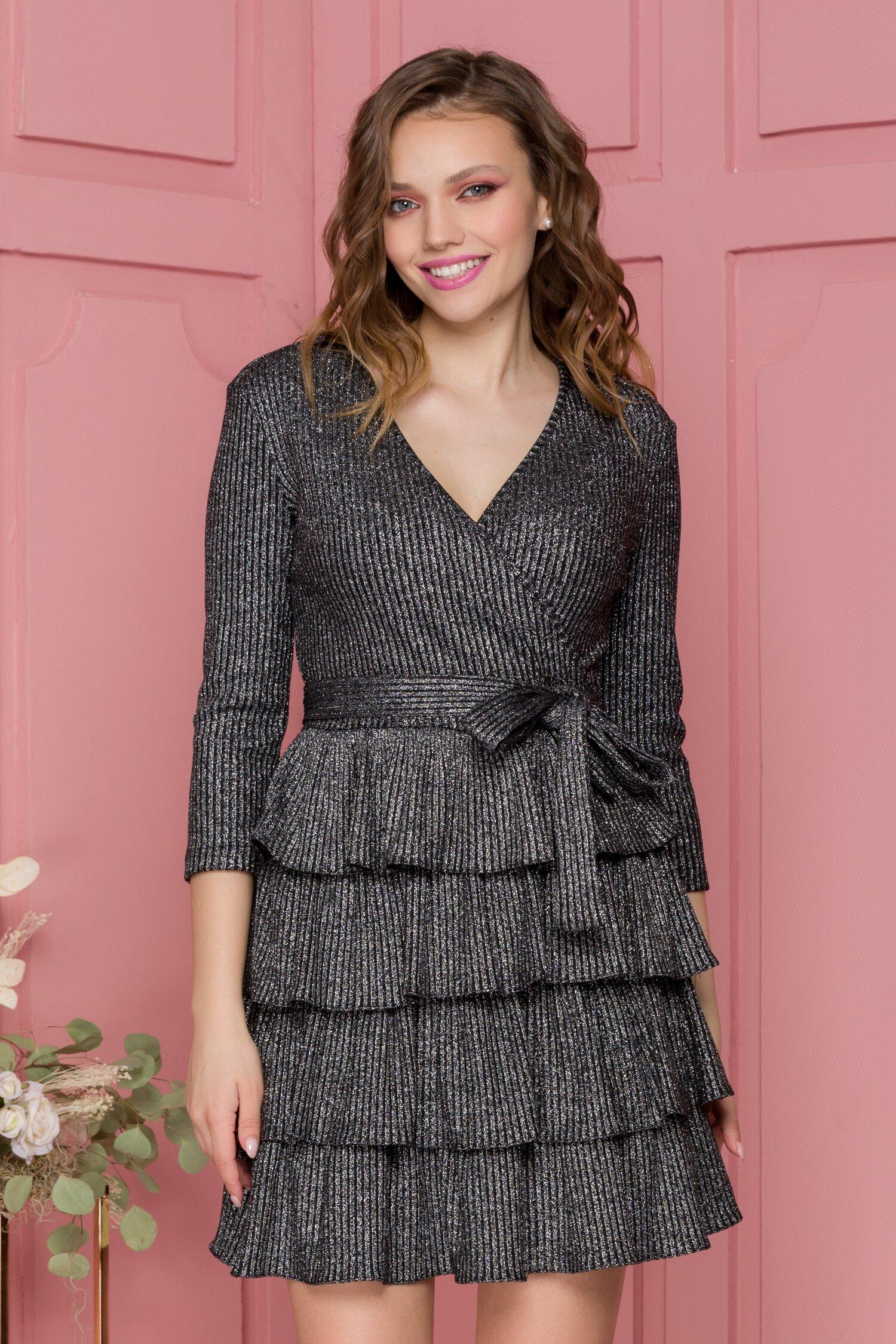 Rochie Alisa neagra tip tricot cu lurex argintiu si volane