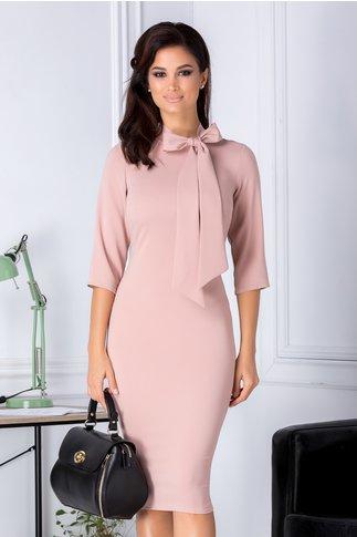 Rochie Alison roz pudrat eleganta cu funda la guler