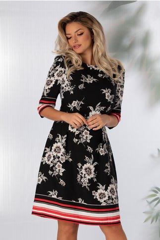 Rochie Ally neagra cu imprimeu floral alb