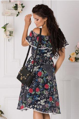 Rochie Alma vaporoasa bleumarin cu floricele