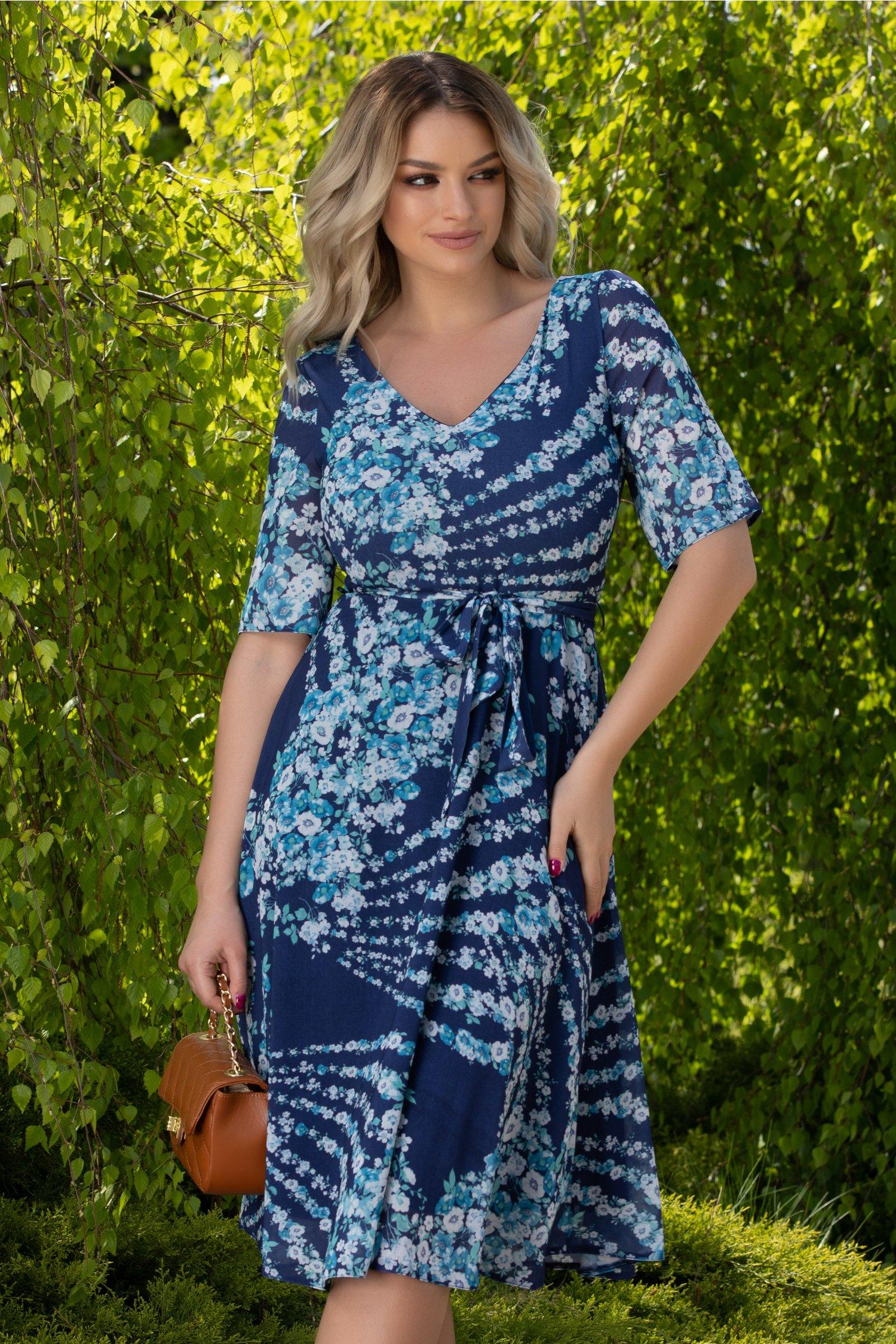 Rochie Alma vaporoasa bleumarin cu imprimeu floral
