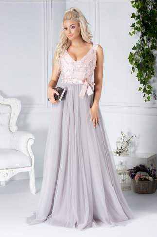Rochie Fofy Almyra lunga din tull gri si roz cu imprimeu si flori 3D