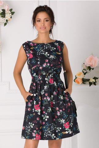 Rochie Alona neagra cu imprimeuri florale colorate