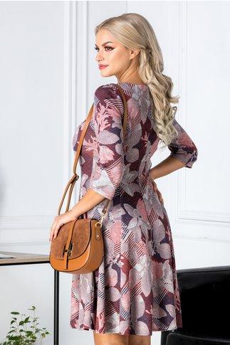 Rochie Alyna bordo cu imprimeu floral roz