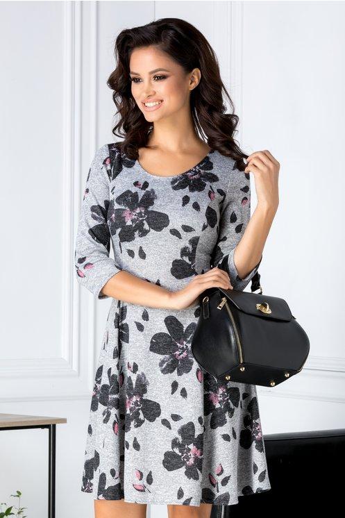 Rochie Alyna gri cu imprimeu floral negru