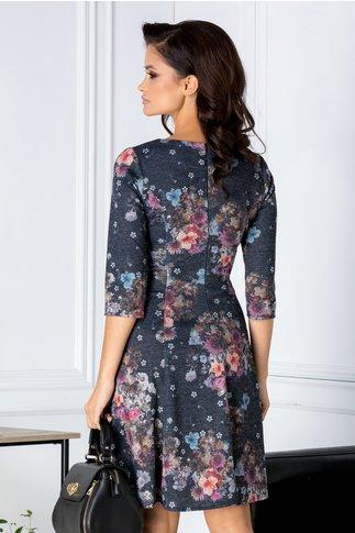 Rochie Alyna neagra cu floricele colorate