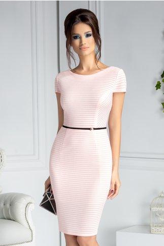 Rochie Alyna roz conica cu bentita decorativa in talie