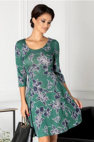 Rochie Alyna verde cu imprimeu floral bleumarin