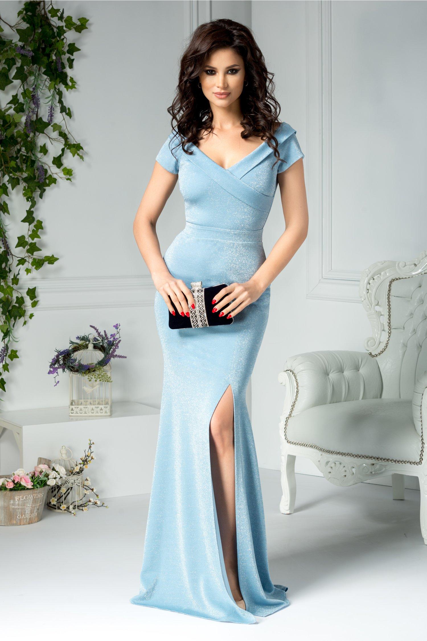 Rochie Alyona bleu cu sclipici lunga de seara