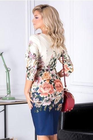 Rochie Amalia ivory cu imprimeu floral