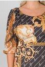 Rochie Amalia neagra cu imprimeuri dinamice