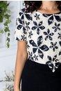 Rochie Amanda negru cu bej cu imprimeu si fir auriu la bust