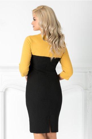 Rochie Amber negru cu galben si flori 3D
