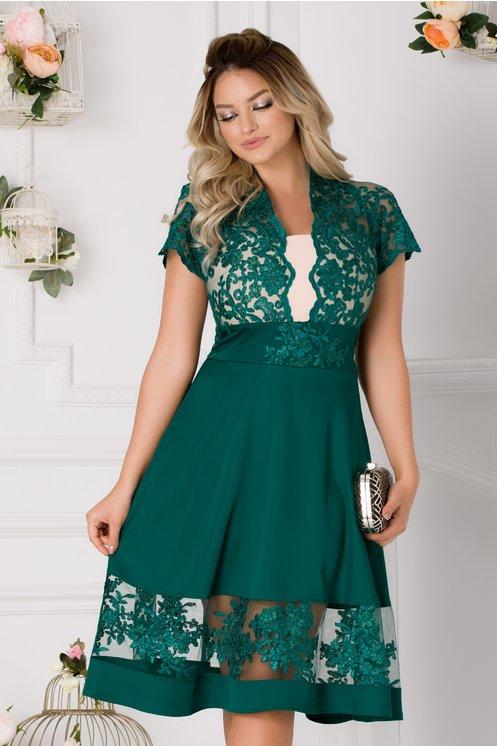 Rochie Amber verde cu dantela si tafta