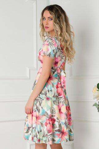 Rochie Amelia alba cu imprimeu floral in nuante pastelate