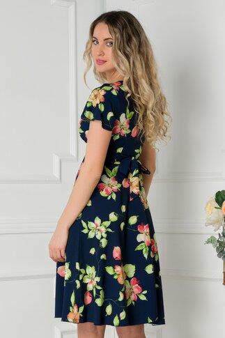 Rochie Amelia bleumarin cu imprimeu floral verde