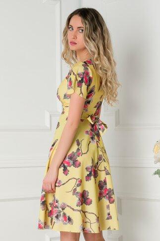 Rochie Amelia galbena cu imprimeu floral