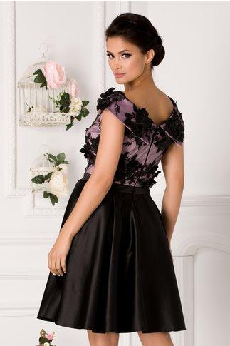 Rochie Amelia neagra cu bust lila si flori 3D