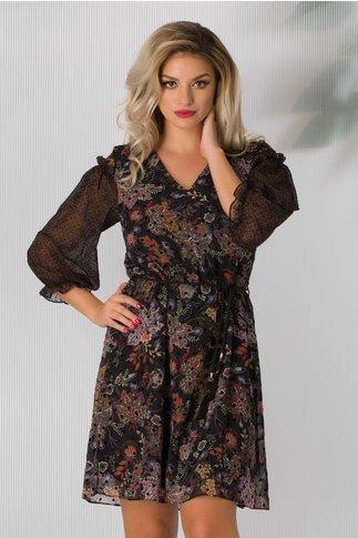 Rochie Amelinda neagra cu imprimeu floral stil mandala si buline catifelate